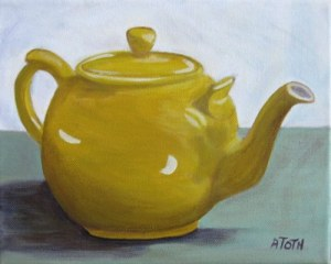 Yellow Teapot - Acrylic on Canvas - A4
