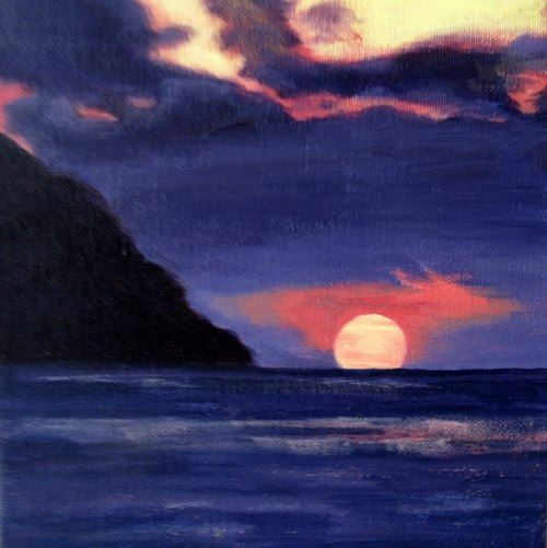 Sunset in Puerto Lopez - 20x20cm - Acrylic on Canvas