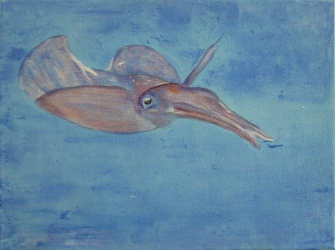 Red Sea Squid - Acrylic on Canvas - 30x23cm