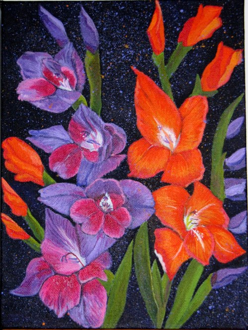 Gladioli - Acrylic on Canvas - 8 x 11.5 inches