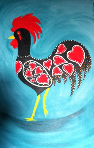 My Barcelos Cockerel - Acrylic on Canvas - 60x40cm