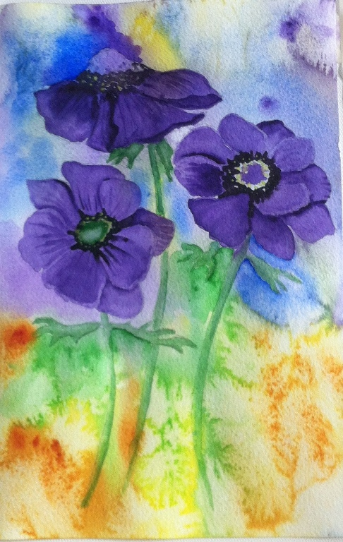 Anemone-Watercolor on Paper-A4