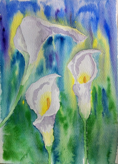 Calla Lilies-Watercolor on paper-A4