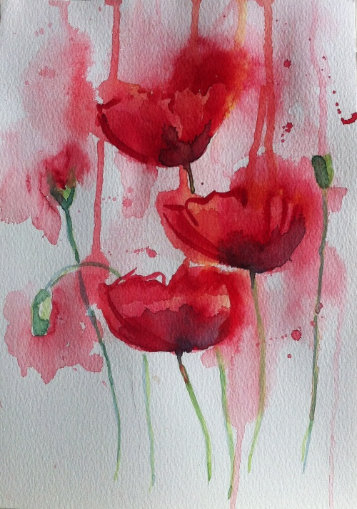 Poppies - Watercolor on paper-A4