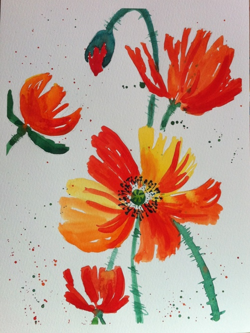Poppies-Watercolor on Paper-A4