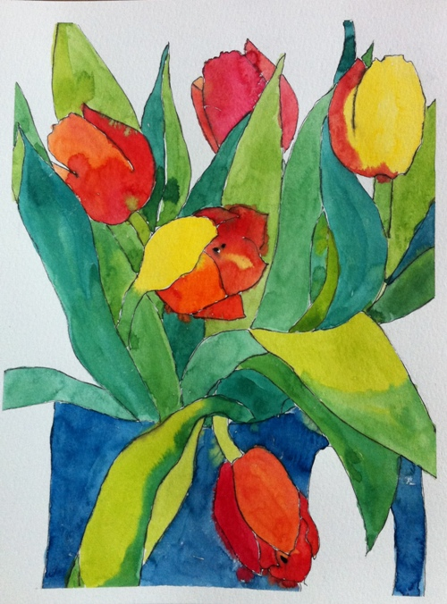 Tulips, Watercolor on Paper, A4