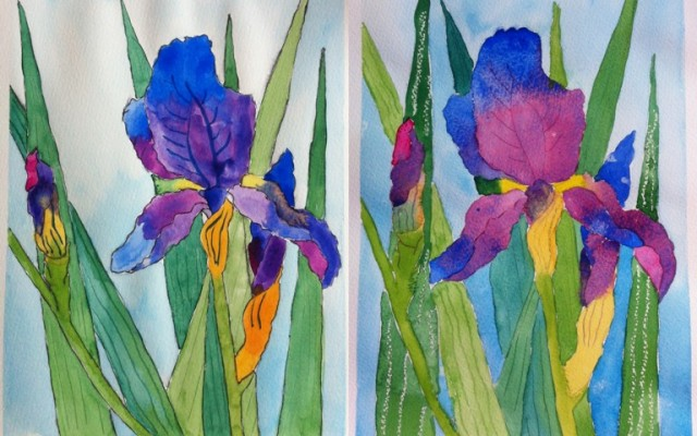 Irises-Watercolor on Paper-A4