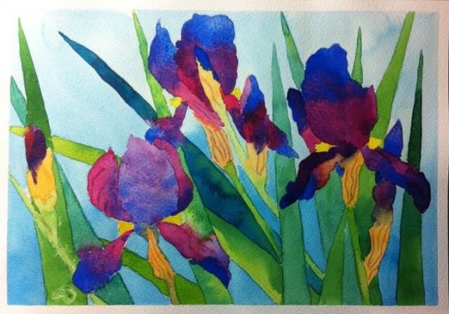Irises - Watercolor on Bockingford - from a lesson