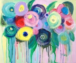 Flowerburst - Acrylic on Canvas Board - 10x 12 inches
